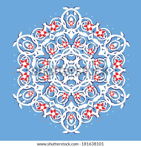 Curly floral seamless kaleidoscope ornament - stock vector