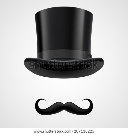 curly retro moustaches and stovepipe top hat elements. funny victorian gentleman on grey bacground - stock vector