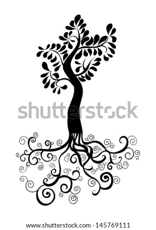 Curly tree with roots and foliage silhouette. Vector file layered for easy manipulation and custom coloring. - stock vector