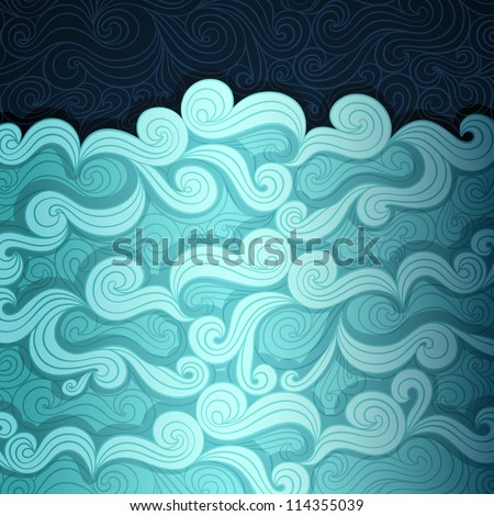 Curly water banner made of fancy paper, vector eps8 illustration - stock vector