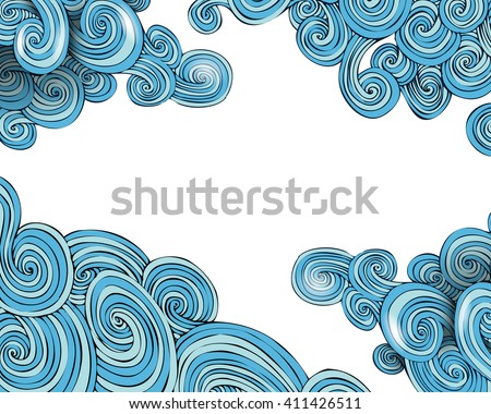 Curly waves frame, vector illustration for your design, eps10 - stock vector