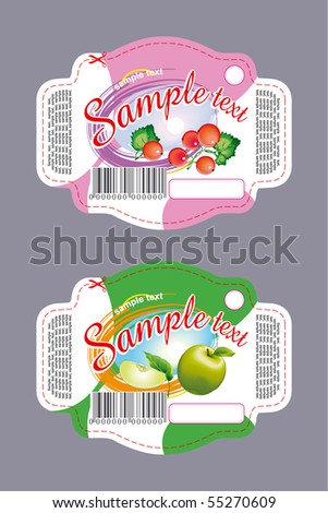 Currant and apple labels - stock vector