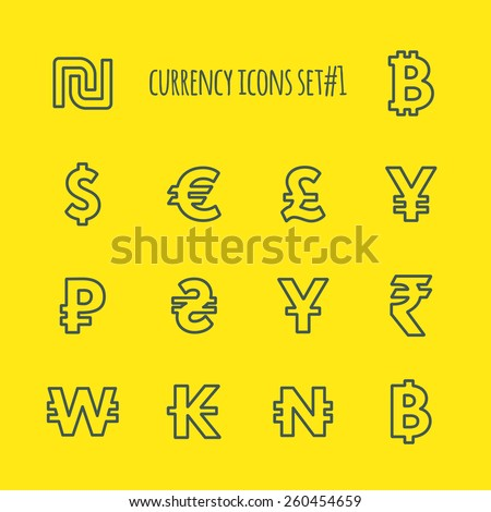 Currencies in the world vector line icon set 1 - stock vector