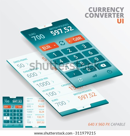 Currency Converter App For Iphon, Ipade, Ipode  - stock vector