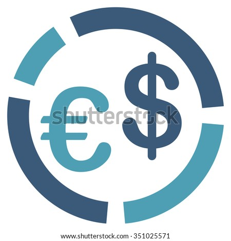 Currency Diagram vector icon. Style is bicolor flat symbol, cyan and blue colors, rounded angles, white background.