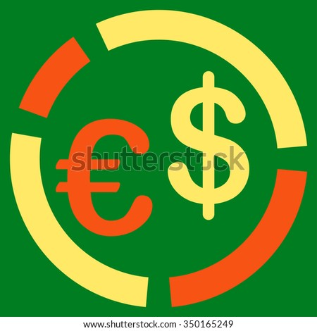 Currency Diagram vector icon. Style is bicolor flat symbol, orange and yellow colors, rounded angles, green background.