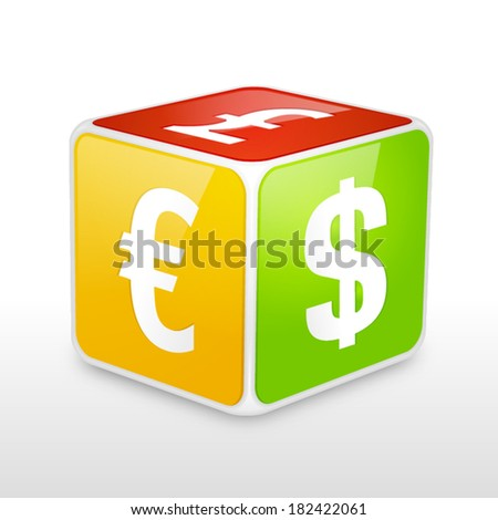 Currency Dice  - stock vector