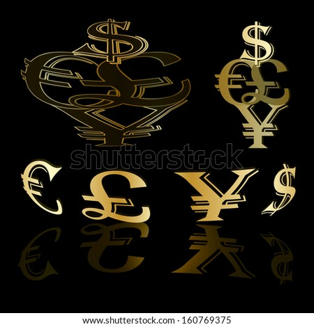 Currency dollar euro symbol gold Dollars Euros and Yen in gold vector background. - stock vector