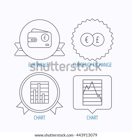 Currency exchange, chart and euro wallet icons. Statistics graph linear signs. Award medal, star label and speech bubble designs. Vector - stock vector