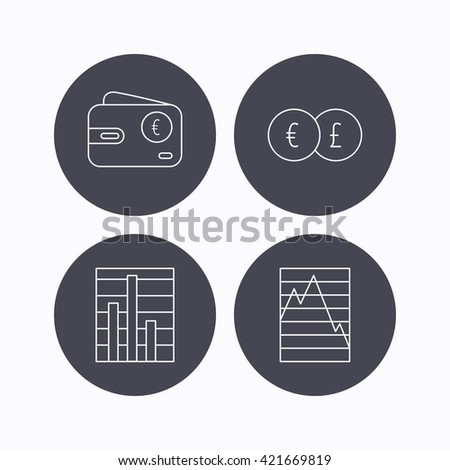 Currency exchange, chart and euro wallet icons. Statistics graph linear signs. Flat icons in circle buttons on white background. Vector - stock vector
