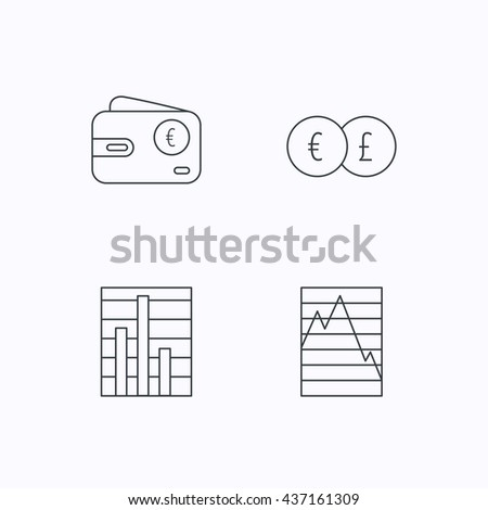 Currency exchange, chart and euro wallet icons. Statistics graph linear signs. Flat linear icons on white background. Vector - stock vector