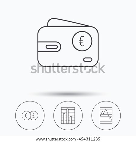 Currency exchange, chart and euro wallet icons. Statistics graph linear signs. Linear icons in circle buttons. Flat web symbols. Vector - stock vector