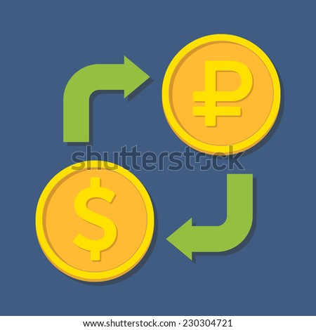 Currency exchange. Dollar and Ruble. Vector illustration - stock vector