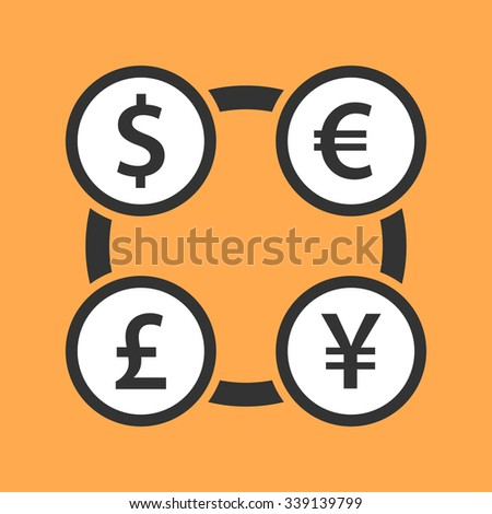 Currency exchange dollar, euro, yen and pound sterling icon. The four most traded currencies in the world. Flat design illustration. - stock vector