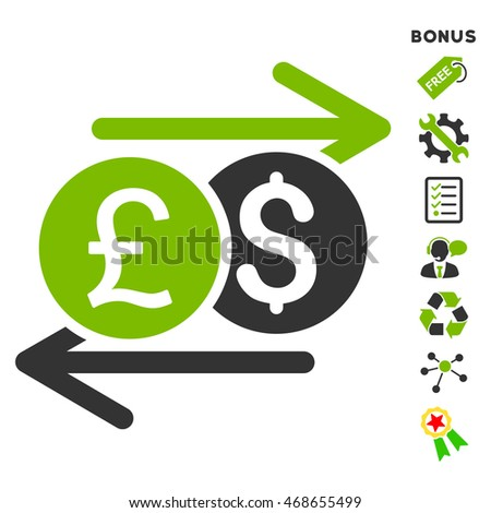 Currency Exchange icon with bonus pictograms. Vector illustration style is flat iconic bicolor symbols, eco green and gray colors, white background, rounded angles.