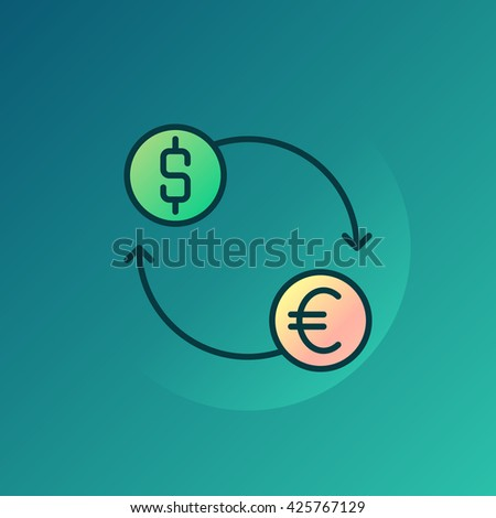 Currency exchange illustration - vector euro and dollar exchange sign - stock vector