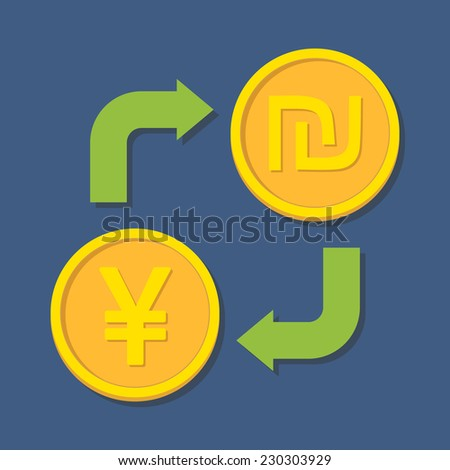 Currency exchange. Yen(Yuan) and Shekel. Vector illustration - stock vector