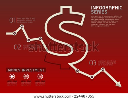 Currency Falling Line Diagram Template Vector - stock vector