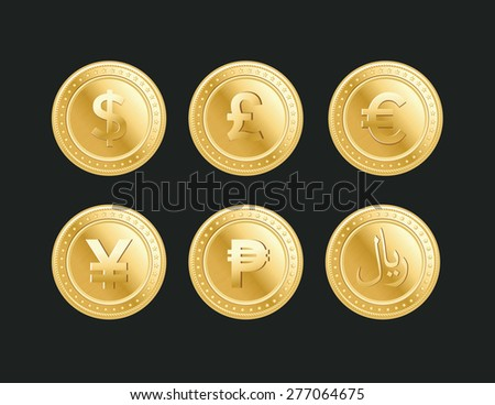 Currency golden dollar, pound, euro, yen, peso and riyal coins on the dark background - stock vector