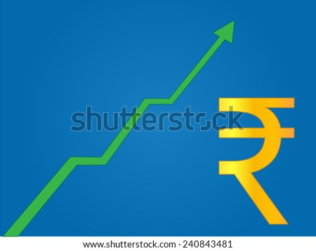 Currency Growth Indian Rupee - stock vector