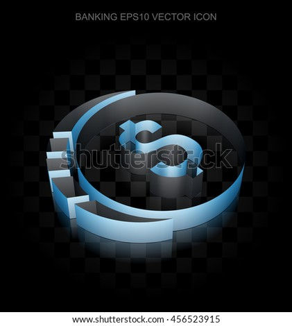 Currency icon: Blue 3d Dollar Coin made of paper tape on black background, transparent shadow, EPS 10 vector illustration.