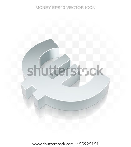 Currency icon: Flat metallic 3d Euro, transparent shadow on light background, EPS 10 vector illustration. - stock vector