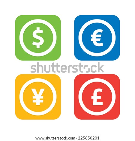 Currency Icons - stock vector