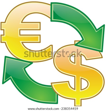 Currency icons dollar vs euro - stock vector