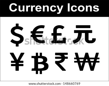 Currency icons set. Black over white background. - stock vector