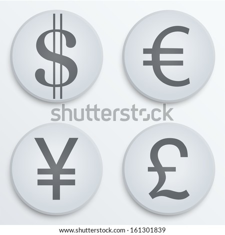 Currency icons symbol dollar, euro, yen, pound. Business finance vector Illustration. Concept of money. Isolated and editable. - stock vector