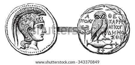 Currency of Athens, vintage engraved illustration. Industrial encyclopedia E.-O. Lami - 1875. - stock vector