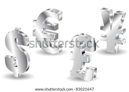 currency sign isolated on white background - stock vector