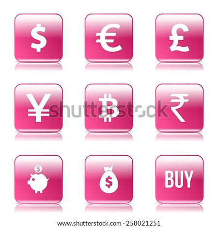 Currency Sign Square Vector Pink Icon Design Set - stock vector