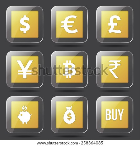 Currency Sign Square Vector Yellow Icon Design Set - stock vector