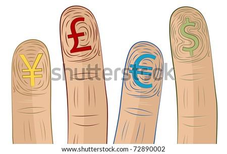 Currency Symbol Fingerprints - stock vector