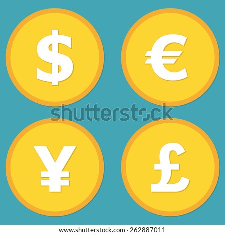 Currency symbols and money coins. Dollar, euro, yen and pound buttons. Stock and finance design elements in flat style. Vector illustration. - stock vector