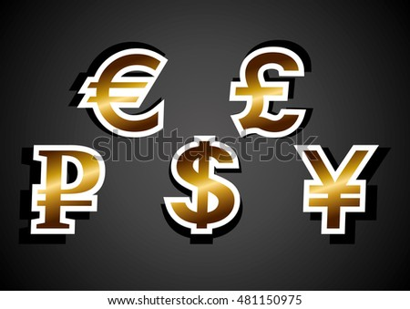 Currency symbols: Euro, dollar, ruble, pound, yen. Abstract vector illustration.