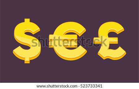 Currency Symbols Signs Dollar Euro Pound Stock Vector 523733341