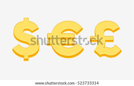 Currency Symbols Signs Dollar Euro Pound Stock Vector Royalty Free