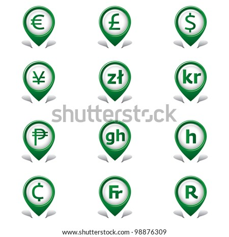 Currency Tab Icons - stock vector