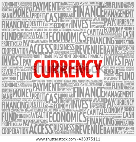 CURRENCY word cloud, business concept - stock vector