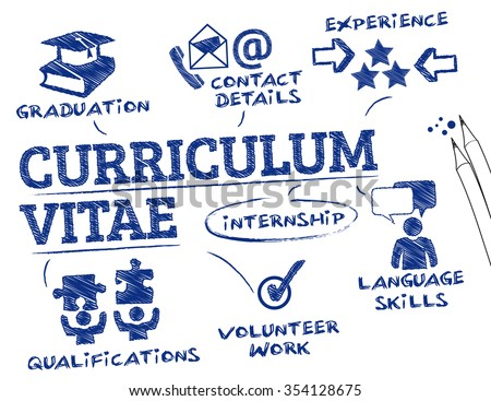 curriculum vitae concept. Chart with keywords and icons - stock vector