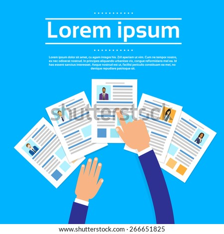 Curriculum Vitae Recruitment Candidate Job Position, Hands Hold CV Profile Choose Business People to Hire Vector Illustration - stock vector