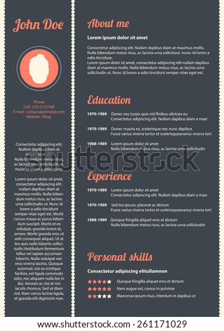 Curriculum vitae with special modern design, vector, eps10 - stock vector