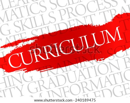 CURRICULUM. Word education collage on gray vector background - stock vector