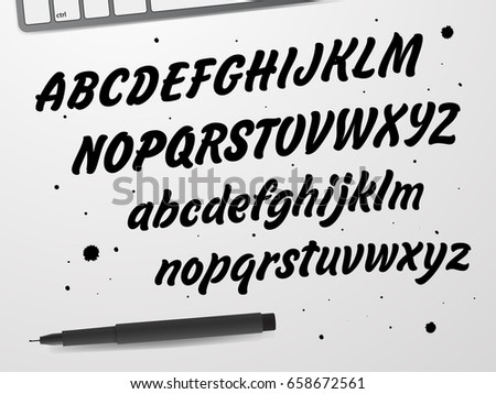 Cursive Black Font Capital And Lowercase Letters Of The English Alphabet For Your Designs