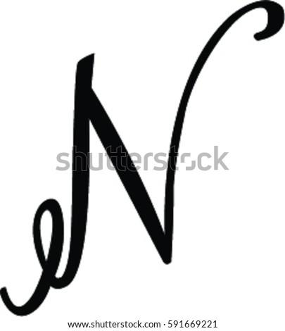 cursive n stock vector 591669221 shutterstock