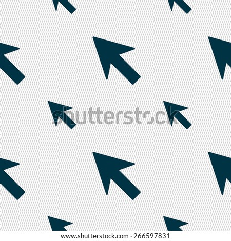 Cursor, arrow icon sign. Seamless pattern with geometric texture. Vector illustration - stock vector