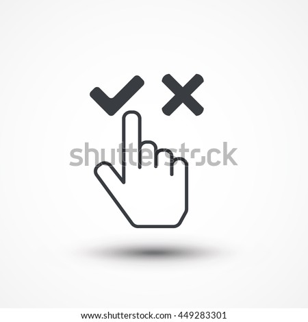 Cursor choose icon hand, yes and no, agree or disagree. Eps10, JPEG, Picture, Image, Logo, Sign, Design, Flat, App, UI, Web, Art, Vector, Solid Style - stock vector