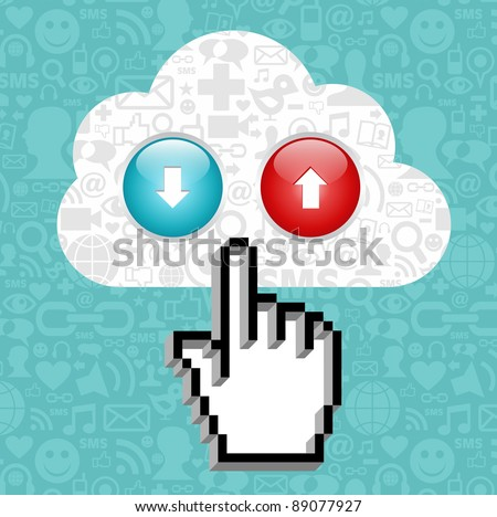 Cursor hand clicking on a cloud with icons of social media and arrows up and down on blue background.   Vector file available.
